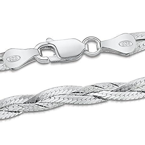 Amberta 925 Sterlingsilber Halskette - Herringbone Kette - Fischgrätkette -