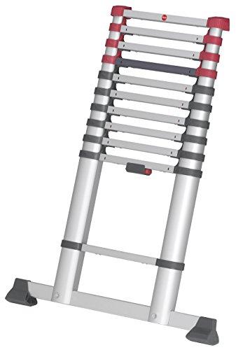 Hailo FlexLine, Alu-Teleskopleiter, 11 Sprossen, Leiternhöhe individuell einstellbar, Klemmschutz, Quertraverse, belastbar bis 150 kg, 7113-111