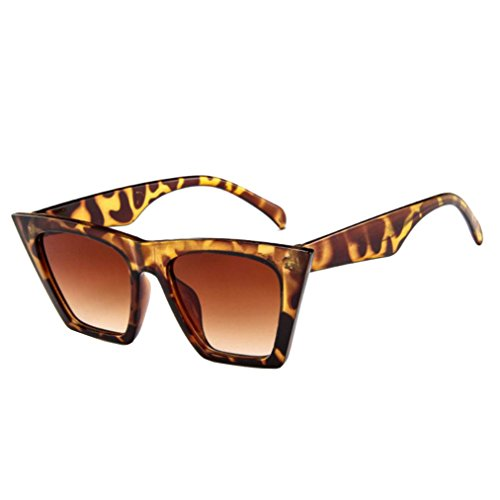 Amcool Mode Damen Übergroße Sonnenbrille Vintage Retro Cat Eye Sonnenbrille (Braun)