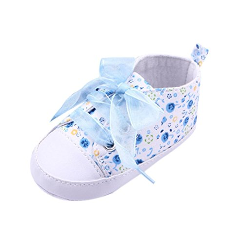 Transer® Moda Bebe Zapatos de suela suave floral infantil Baby First Walker Toddler Shoes (11cm,