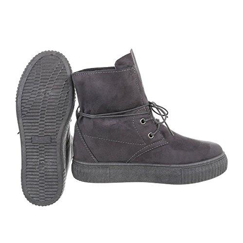 Ital-Design Sneakers High Damenschuhe Sneakers High Sneakers Schnürsenkel Freizeitschuhe Grau JA3209