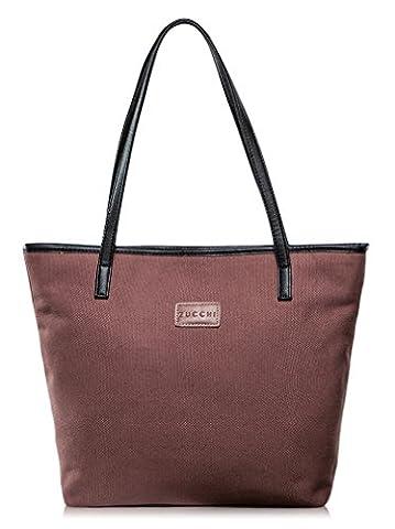 La Gracery Damen Nylon Tragetasche Handtasche SchulterTasche Shopper große Tote-Schwarz (Weinrot)