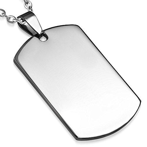 Bungsa Armee Erkennungsmarke Kettenanhänger Gravierbar Silber Edelstahl 28x40mm (Pendant Anhänger Navy Seals ID-Marke Erkennungsmarke Amulett Medaillon Charm Chirurgenstahl Damen Herren Schmuck)