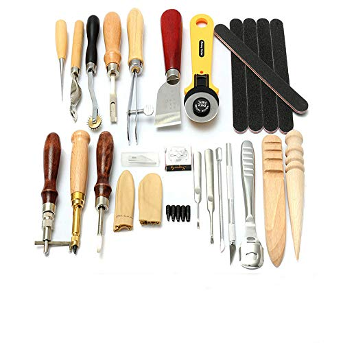 Malayas®24 Stück Leder Handwerk Werkzeugsatz Punch Stitching Lochen Schnitzen Nähen Stanzen DIY Lederarbeit Werkzeug Set