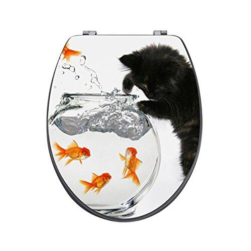 banjado Design Toilettensitz in Anthrazit | WC-Sitz Holz MDF 42,3×3,5×37,5cm | Klodeckel mit Edelstahl Scharnieren | Toilettendeckel mit Motiv Katze und Fisch