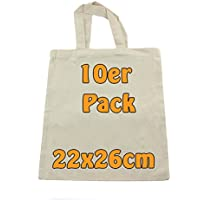 Baumwolltasche Jutebeutel unbedruckt ideal zum Bemalen Apothekertasche Geschenktasche natur klein 22x26cm 10 Stück