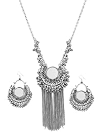 Andaaz Oxiidized German Silver Mirror Afgani Necklace with Earring for Women