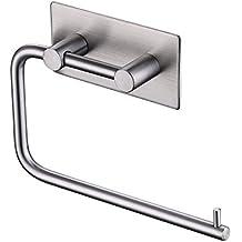 Umi. Essentials - Portarotolo di carta igienica autoadesivo, finitura in acciaio inox spazzolato