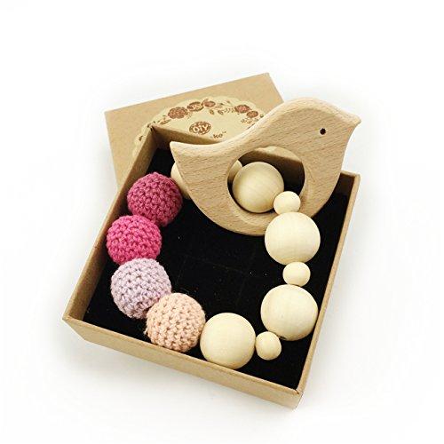teether legno organici ecologico regalo dentizione dentizione masticare giocattolo braccialetto di cura Montessori bambino