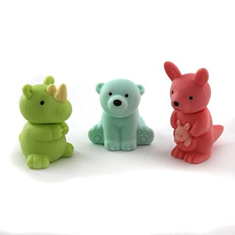 Iwako Japanese Erasers - Green Rhino, Blue Polar Bear and Pink Kangaroo (3 pieces)