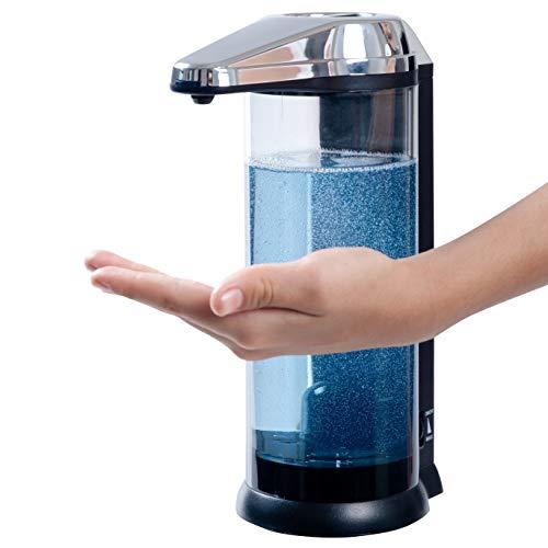 Secura - Dispensador de jabón automático, a pilas, sin contacto de gama alta (500 ml, funciona con pilas, con dispensador de jabón ajustable, control de volumen)