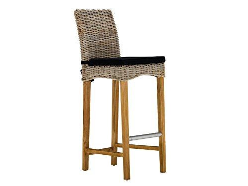massivum Stuhl Caracas 43x118x60 cm Kubu-Rattan grau lackiert