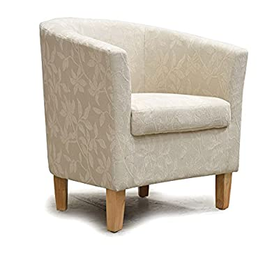 Chenille Fabric Tub Chair Armchair Dining Living Room Lounge Office Modern Furniture Natural Neutral Floral Fabric New - low-cost UK light store.