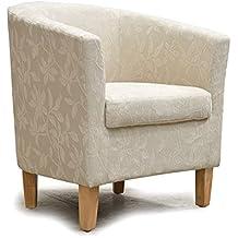 Sillón de tela de chenilla con patrón de flores neutral, para sala de estar, comedor, salón, oficina, muebles modernos