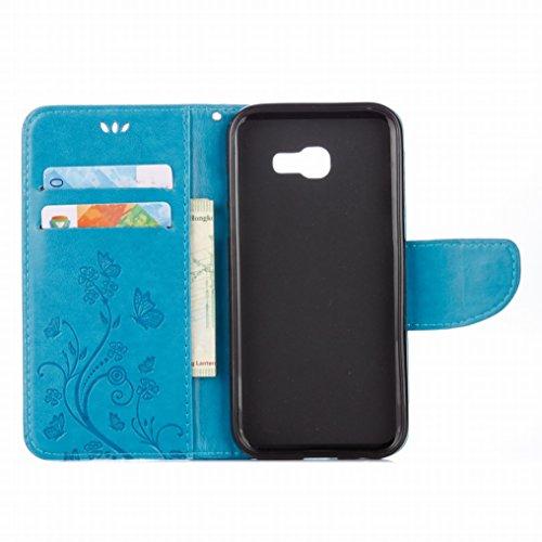 Custodia Samsung Galaxy A5 (2017) Cover Case, Ougger Fiore Farfalla Portafoglio PU Pelle Magnetico Stand Morbido Silicone Flip Bumper Protettivo Gomma Shell Borsa Custodie con Slot per Schede (Verde) Azzurro