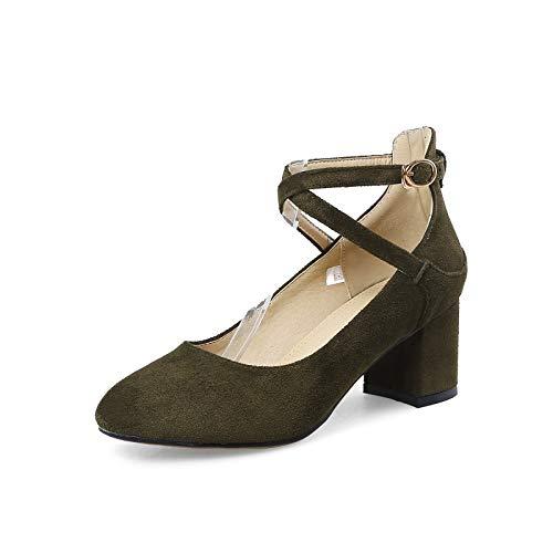 HRCxue Pumps Mode Damen grob mit einzelnen Schuhen Freizeitschuhen Wildleder Stöckelschuhe Größe Militärgrün, 33