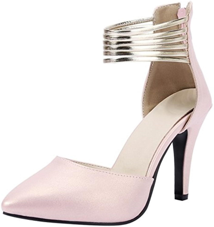 COOLCEPT Damen Mode Knochelriemchen Sandalen Stiletto Geschlossene Schuhe Zipper Gr