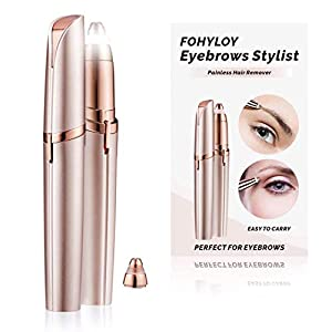 FOHYLOY Painless Eyebrow Hair Remover,Sensitive Precision Hair Removal Beauty Instrument with Light,1 Spare Razors Blade