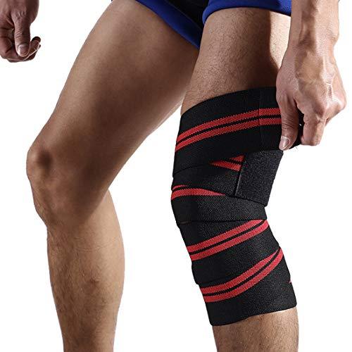 UICICI Sport Wicklung Starke elastische Selbstklebende Bandage Knie-Aufzug Gewichtheben Sling Schutzausrüstung (Color : Schwarz, Size : 180 * 8cm) - Knie-aufzug