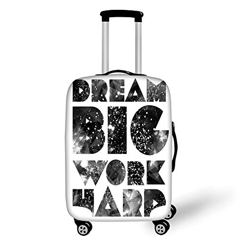 Travel Luggage Cover Suitcase Protector,Indie,Dream Big Work Hard Typography Design with Galaxy...