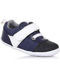 BOBUX - Chaussure Step Up Edge bleue en tissu et cuir, made in New Zealand, idéale pour les premiers pas et pour ramper, bébé garçon