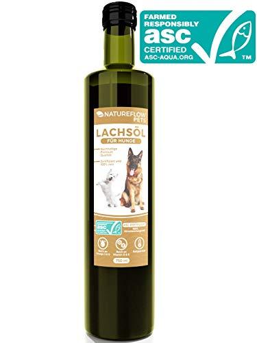 Natureflow Lachsöl für Hunde - ASC-Zertifizierte Omega 3 und Omega 6 Fischöl Glasflaschen- Hochwertiges Lachsöl kaltgepresst in Premium Qualität - Als Barföl geeignet - 750ml -