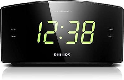 Philips AJ3400/12 - Reloj despertador con radio FM (temporizador, alarma dual), color negro