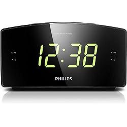 Philips AJ3400 Radio-Réveil avec Grand Écran, Radio FM numérique, Luminosité Réglable, Batterie de Secours