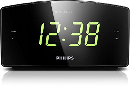 Philips AJ3400 Radio Sveglia con Grande Display, Digital UKW, Sleep Timer, Nero
