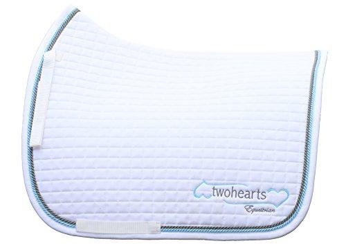Schabracke Weiß Model BRIAR by twohearts (Premium Qualität Ergonomisch und Atmungsaktiv) (XL Dressur (ca 3 cm mehr Rückenlänge))