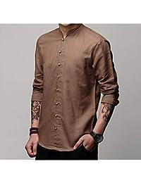 Abbigliamento Uomo Marrone lino it Amazon camicia wPqzY0qX