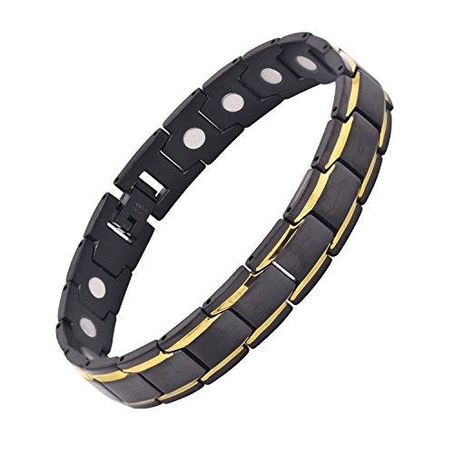 Herren Armband 18k Gold Schwarz Zwei Tone Edelstahl Magnetschmuck mit Free Link Removal Tool 21cm von JFUME