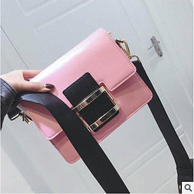 Yjiux Mujeres Pu Shoulder Bag All Seasons Casual Lightning Gray Brown Blushing Pink, Blushing Pink Brown