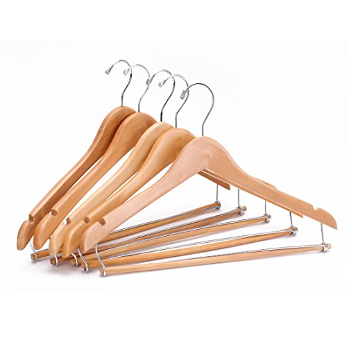Konturierte Kleiderbügel (J.S. Hanger® Hohe Qualität konturierte Holz Anzug Kleiderbügel mit stabilen Einraststange, Kleidung Kleiderbügel Organization, Natur fertig, 5 Stück)