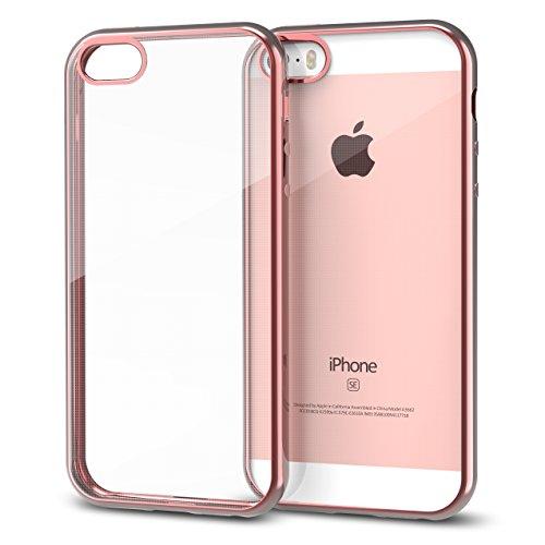 Tintec iPhone SE Hülle, Anti-Kratzer Apple iPhone SE 5 5S Schutzhülle Handyhülle Tasche Hülle Case Cover Bumper gegen Stürzen und Stößen für Das iPhone SE/5/5S - Rosa Gold - Iphone Rosa 5 Cover