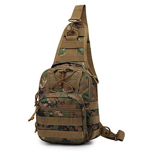 Mardingtop Brusttasche Umhängetasche Schultertasche Cross Bag Schleuder Tasche Sling Rucksack Multipurpose Daypack Outdoor Sporttasche zum Wandern Radfahren Reisen (A - Grüne Tarnung) (Sling-rucksack)