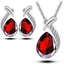 Leisial Ciondolo di Cristallo di Gioielli di Disegno Elegante delle Gocce dell'acqua delle Donne dell'orecchino della Collana della Signora delle Rooso