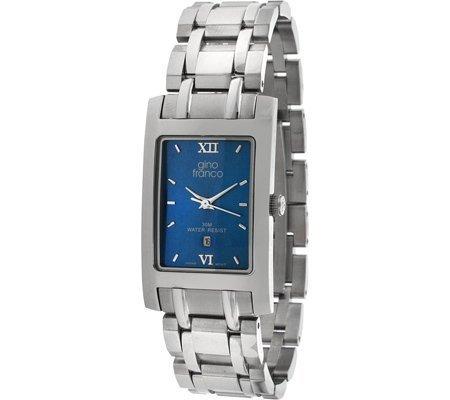 Gino Franco Men's Rectangular Case Blue Dial Stainless Steel Bracelet Watch #988BL