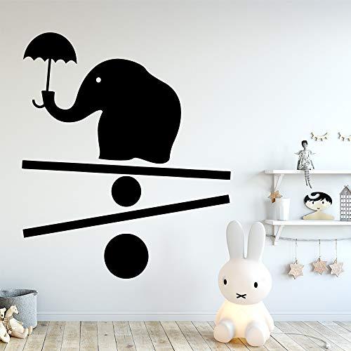 Adesivo murale Fumetto Elefante Vinile Carta da Parati Impermeabile Nero XL 58 cm X 68 cm