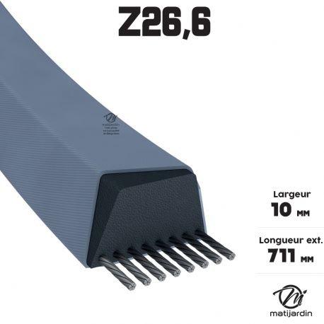 Courroie tondeuse Z26,5 Trapézoïdale - 10 mm x 711 mm - Pièce neuve