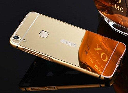 RJR Luxury Metal Bumper Acrylic Mirror Back Case Cover For VIVO V3-Gold