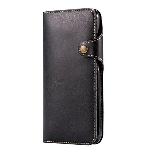 """MOONCASE iPhone 7 Plus Coque, Card Slots Faux Cuir Flip Portefeuille Housse Flexible TPU Antichoc Protection Étuis Case pour iPhone 7 Plus 5.5"""" Rouge Noir"""