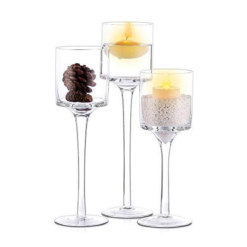 Nuptio 3 Stück Kerzenständer, Teelichthalter Hohes Elegantes Glas Stilvolles Design Ideal für Hochzeiten, Wohnkultur, Partys, Tischdekoration & Geschenke