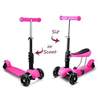 ANCHEER Toddlers Kids Scooter with Removable Seat | 3-in-1 Mini 3 Wheels Princess Adjustable Folding Kick Push Scooter with LED Flashing Wheels, Gift Toys Children Boys Girls Age 2-6 (Pink)