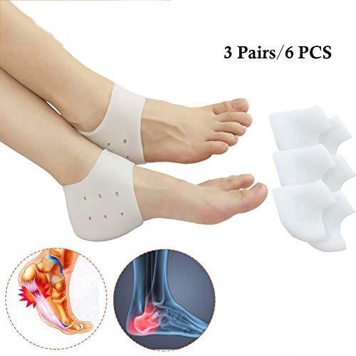 LJ.BK Fersenschalen Ferse Socken Ideal Für Ferse Schmerzen, Heilen Trockene Rissige Fersen, Achilles Tendinitis, Für Herren Und Damen. 3 Paare / 6 Stück -