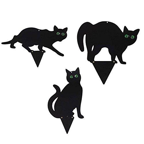 REFURBISHHOUSE 3 Stueck Schwarzes Metall Scare Cats Schaedlingsbekaempfung Scarer Repeller Cat Deterrent Schwarze Katze -