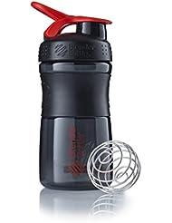 BlenderBottle Sportmixer Botella de Agua y Mezcladora, Unisex, Black/Red, 590 ml