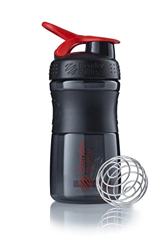 BlenderBottle Sportmixer Tritan Shaker | Protein Shaker | Wasserflasche | Diät shaker Black - Rot (20oz / 590ml)