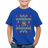 style3 Link Ugly Christmas Sweater T-Shirt für Kinder Strick Pulli Weihnachten Zelda Xmas, Farbe:Blau, Größe:152