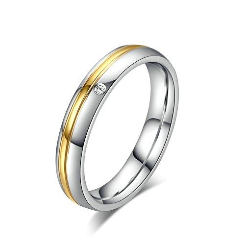 Onefeart Damen Edelstahl Ring Herren Hochzeitsband,Weiß Zirkonia 4MM&6MM Größe 67 (21.3) Twill (Original Stein Twill)